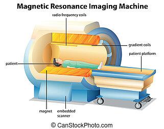 Illustration showing the magnetic resonance imaging machine
