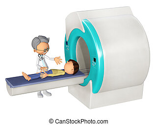 MRI Scanm Doctor and little boy, 3d