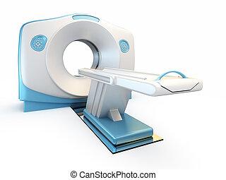 MRI scanner, isolated on white background.