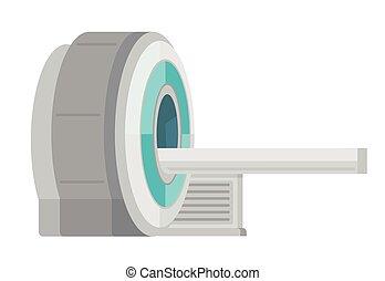 Professional medical MRI scanner machine. Medical equipment. Vector cartoon illustration isolated on white background.