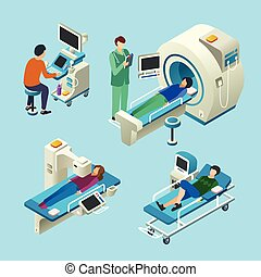 MRI scanner vector illustration isometric medical examination