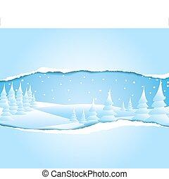 mroźny, śnieżny, zima krajobraz