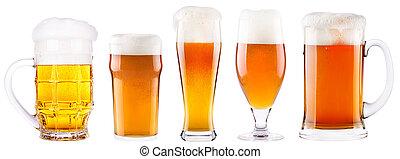 mroźny, świeży, piwo, zbiór, z, piana, odizolowany