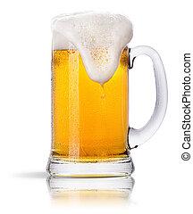 mroźny, szkło, świetlany, piwo, komplet, odizolowany