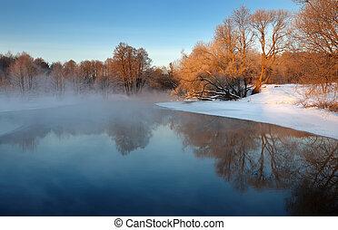 mroźny, zima, rano