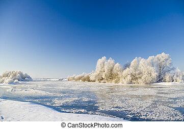 mroźny, zima rzeka