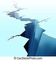 mrożony, kopnięty lód, podłoga