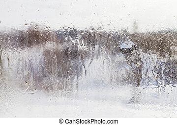 mrożony, okno, przez, wieś, mglisto, prospekt