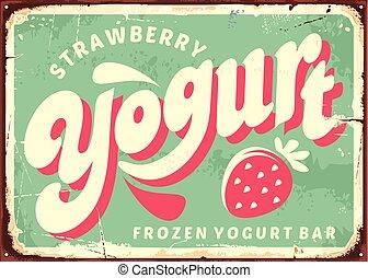 mrożony, truskawka, jogurt, retro, znak