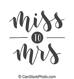 mrs., 小姐, 字母, illustration., 矢量, 手寫