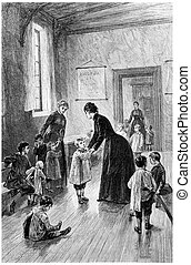 Mrs. Branican came every day to visit, vintage engraving. - ...