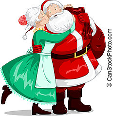 Mrs Claus Kisses Santa On Cheek And Hugs - A vector...