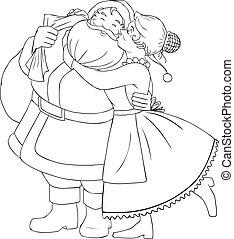 Mrs Claus Kisses Santa On Cheek And Hugs Coloring Page -...