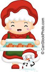 Mrs Santa baking the gingerbread cookies eps8