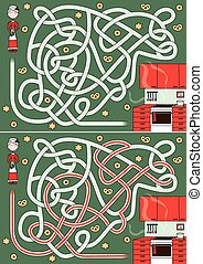 Mrs. Santa Claus maze with a solution