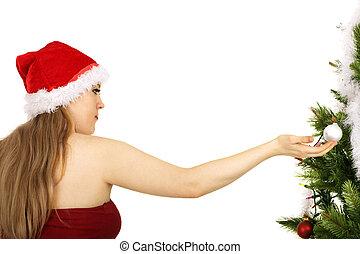 Mrs Santa Holding Christmas Ornament