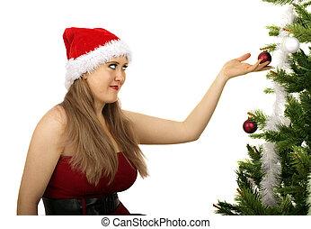 Mrs Santa Looking At Christmas Tree