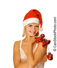 Mrs. Santa with Christmas decorations