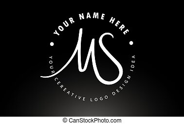 MS Handwritten Letters Logo Design with Circular Letter Pattern. Creative Handwritten Signature Logo Icon Vector Illustration.