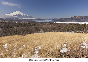 mt 富士, 冬, 季節, 射撃, から, 湖, yamanaka., 山梨, 日本
