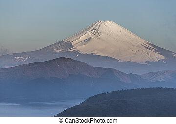 mt 富士, 冬, 季節, 射撃, から, 箱根, viewpoint., 日本