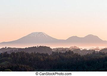 Mt Edgecumbe volcano during sunset