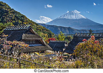 Mt Fuji and A Village - Mt Fuji viewed from Iyashinofurusato...