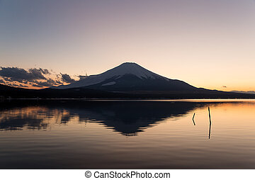 Mt. Fuji and lake at sunset