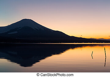 Mt. Fuji and lake yamanaka at sunset