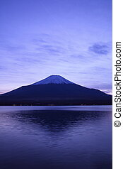 Mt. Fuji and Lake Yamanaka at twilight, Yamanashi, Japan