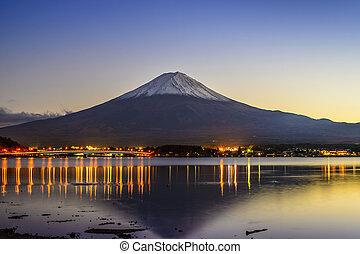 Mt. Fuji at Dusk - Mt. Fuji, Japan viewed from Lake ...