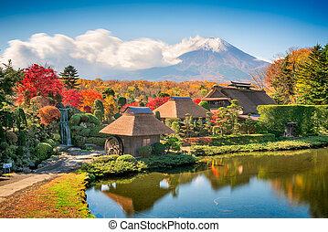 Mt. Fuji at Oshino Hakkai - Oshino, Japan historic thatch ...