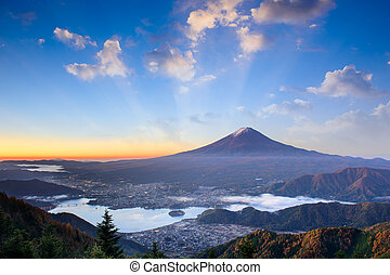 Mt. Fuji Autumn Sunrise - Mt. Fuji, Japan over lake ...