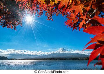 Mt Fuji in autumn view from lake Kawaguchiko