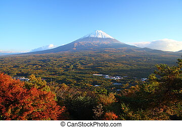 Mt. Fuji in autumn - View of Mt. Fuji with Aokigahara forest...