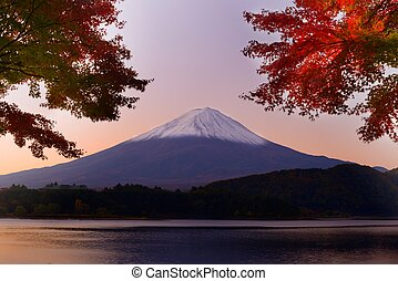 Mt. Fuji in the Autumn - Mt. Fuji and autumn foliage at Lake...