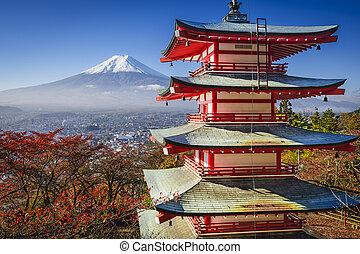 Mt. Fuji in the Fall - Mt. Fuji and Pagoda during the fall ...