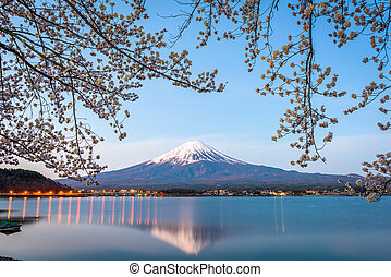 Mt. Fuji, Japan on Lake Kawaguchi during spring season.