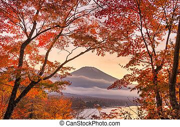 Mt. Fuji, Japan viewed from Yamanaka Lake with Fall Foliage ...