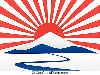 mt-fuji, montagne, vecteur, marine, design., japon, soleil, ...