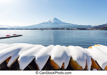 Mt. Fuji mountain with snow ladscape