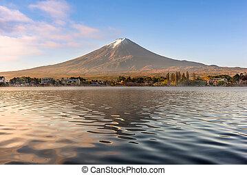 Mt. Fuji on Lake Kawaguchi - Mt. Fuji at Kawaguchi Lake in ...