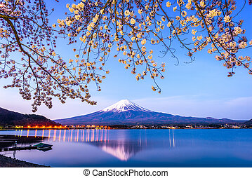 Mt. Fuji Spring - Mt. Fuji on Lake Kawaguchi, Japan during ...