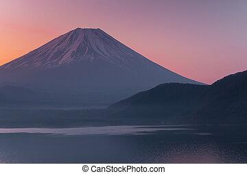 Mt. Fuji view from Motosuko lake, Yamanashi, Japan.