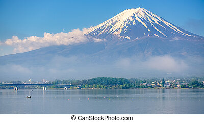 Mt. Fuji view from shore of Kawaguchiko lake