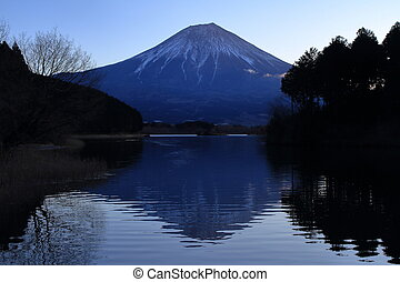 Mt. Fuji, view from Tanuki lake, Shizuoka, Japan (before...