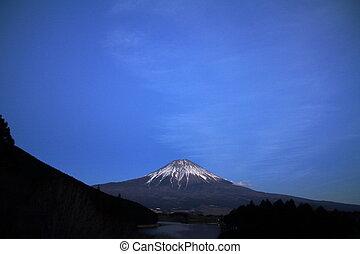 Mt. Fuji, view from Tanuki lake, Shizuoka, Japan (night...