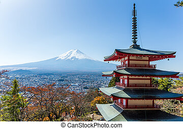 Mt. Fuji viewed from behind Chureito Pagoda