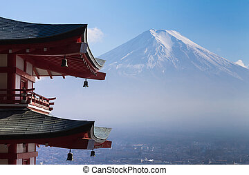 Mt. Fuji viewed from behind red Chureito P
