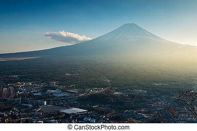 Mt. Fuji viewed from Kawaguchiko Tenjoyama Park Mt. Kachi Kachi Ropeway